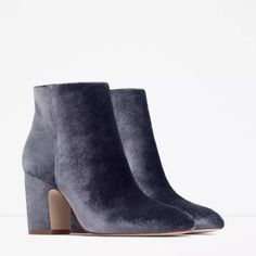 ZARA VELVET HIGH HEEL ANKLE BOOTS GRAY BLUE Brand new with tags, true to size, very comfortable, block heel with side zip. $65Ⓜ️ercari Zara Shoes Ankle Boots & Booties