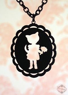 Kitty Cat Girl cameo necklace in black stainless steel - large silhouette cat jewelry Cameo Jewelry, Cameo Necklace, Diy Jewelry, Alice And Jasper, Kawaii Jewelry, Resin Charms, Little Fashionista, Silhouette Cameo, Kawaii Stuff