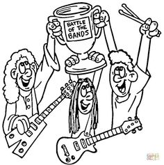Rock Band Coloring Pages Sketch Page
