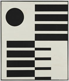 """Untitled,"" 1951. Oil on Masonite. John McLaughlin (1898-1976) was an American abstract painter. Based primarily in California, he was a pioneer in minimalist and hard-edge painting. work is characterized by a simplicity expressed as precise geometric forms, usually rectangles. His experiences in Asia were very important in developing his style. . Essentially color serves him as a means of defining and regulating a form's relative importance in the composition."
