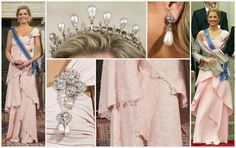3/23/14--The Dutch royal family hosted a state visit from China. Queen Máxima wore a repeated pink Valentino gown (a previous appearance, far right) which has been altered to add lace to the bottom tiers. She paired it with pearl and diamond jewelry, including the Antique Pearl Tiara and Dutch Corsage Stomacher brooch
