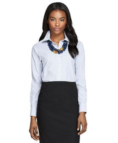 Non-Iron Classic Fit Stripe Dress Shirt - Brooks Brothers - love the shirt and the necklace for you.