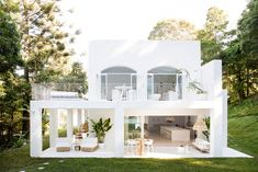 Three Birds Renovations House 10 Exterior - The Hinterland Hideaway, White House, White Render, Outdoor Styling, Outdoor Living -