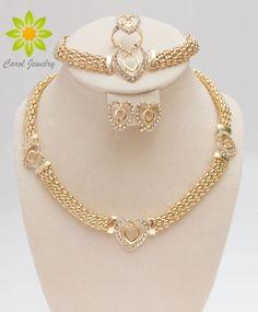 Free Shipping Dubai  Gold Color Heart Shape Necklace Set Fashion Crystal Wedding Bridal Costume Jewelry Ses #Affiliate