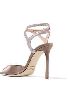 Jimmy Choo - Helen Glitter-trimmed Satin And Suede Sandals - Antique rose - IT37.5