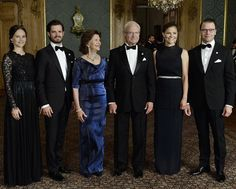 On September 16, 2016, King Carl XVI Gustaf and Queen Silvia of Sweden hosted a dinner to recognise people who have made significant local, regional or national contributions at the Royal Palace. Crown Princess Victoria, Prince Daniel, Prince Carl Philip and Princess Sofia of Sweden attended the 'Sweden Dinner' (Sverigemiddag) held at the Royal Palace in Stockholm, Sweden. (Crown Princess Victoria wore Ann-Sofie Back gown, Princess Sofia wore Kay Senchai gown)