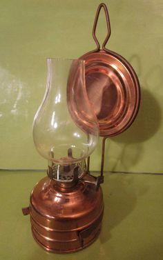 Hurricane Oil Lamp w/ Globe and Reflector/ Mini /Germany Hurricane Oil Lamps, Antique Oil Lamps, Vintage Lanterns, Kerosene Lamp, Oil Candles, Copper, Brass, Light Up, Globe