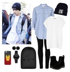 """Airport-Fashion (Jungkook Style)"" by parkjiminie ❤ liked on Polyvore featuring Wolford, Topshop, Oak, Dr. Martens, Rains, Thomas Sabo and Casetify"