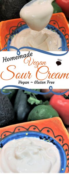 This homemade dairy free sour cream is gluten free, palm oil free and vegan. Creamy and delicious, it can be whipped up in minutes with just 5 simple ingredients. Vegan Sauces, Vegan Foods, Vegan Dishes, Vegan Vegetarian, Vegan Meals, Dairy Free Recipes, Vegan Gluten Free, Vegan Recipes, Paleo