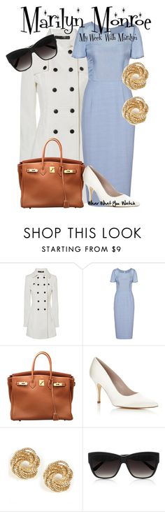 """My Week With Marilyn"" by wearwhatyouwatch ❤ liked on Polyvore featuring Jane Norman, Reiss, Hermès, HARRIET WILDE, Linda Farrow, top handle bags, trench coats, wayfarer sunglasses, white pumps and white"