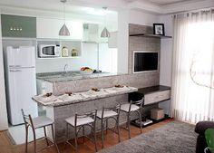 Resultado de imagem para sala de tv com cozinha conjugada pequena decorada