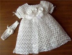 White Thread Crochet Baby Dress size 03 month by csabin on Etsy Knitting For Kids, Crochet For Kids, Baby Knitting, Baby Girl Crochet, Crochet Baby Clothes, Baby Girl Dresses, Baby Dress, Thread Crochet, Knit Crochet
