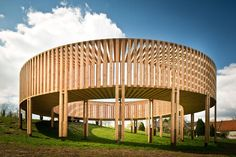 Doughnut-shaped pavilion in Limburg, Belgium, by Scottish artiste Aeneas Wilder. Untitled by Aeneas Wilder kerniel - borgloon - belgium Timber Architecture, Pavilion Architecture, Sustainable Architecture, Landscape Architecture, Architecture Design, Residential Architecture, Contemporary Architecture, Building Architecture, Patio Circular