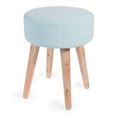 Tabouret en bois et tissu bleu OLBIA