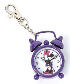 This Purple Minnie Mouse Alarm Clock Key Chain by Minnie Mouse is perfect! #zulilyfinds