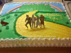 Homemade Wizard of Oz Cake: This Wizard of Oz Cake was my first attempt at making this cake. I have since made many more! This one, which was half white half chocolate 1/2 sheet,