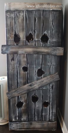 Halloween Decoration...Painting Faux Wooden Boards on Cardboard...cheap, lightweight Halloween prop...