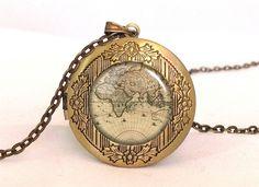 WORLD MAP Locket, 0196LPB from EgginEgg by DaWanda.com