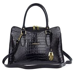 Giordano Italian Made Black Crocodile Embossed Leather Tote Handbag