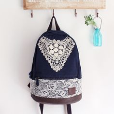 Fashion College Style Triangle Lace Canvas Backpack | Fashion Backpacks | Fashion Bags- ByGoods.Com