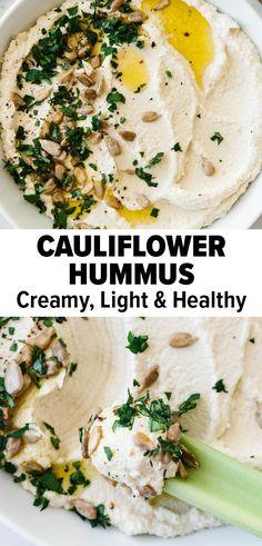 Healthy Hummus Recipe, Healthy Dips, Vegan Hummus, Healthy Appetizers, Healthy Eating, Homemade Hummus Recipe, Healthy Cauliflower Recipes, Primal Recipes, Vegetarian Recipes