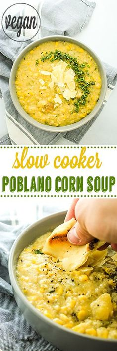 Crockpot Poblano Corn Soup – COMFORT food heaven! Creamy, smoky, and just enough spice to warm you up on cold days. http://thefitchen.com