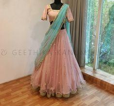 20 Latest Bride Sister Lehengas By Geethika Kanumilli - Half Saree Lehenga, Lehenga Skirt, Lehnga Dress, Indian Lehenga, Sari, Net Lehenga, Lehenga Blouse, Pakistani, Party Wear Indian Dresses