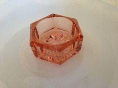 Vintage Depression glass Salt Cellar Dip in rare pink glass