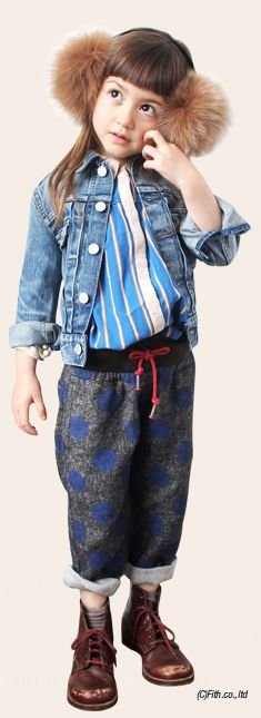 ear muffs; Fith, denim jacket; Go to Hollywood, blouse; Fith, pants; Go to Hollywood