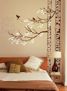Wall Decal - birch tree Wall decal with birds Wall decals