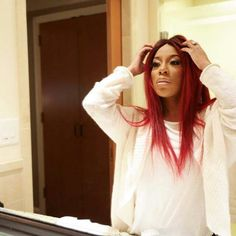 K Michelle Red Hair Bun ... michelle on Pinterest | K michelle, K michelle hair and Bet awards