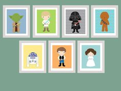 Star Wars Set of 7 Wall art Printable by RainbowSweetStudio
