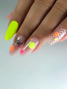 Neon Nails, Manicure, Dots, Beauty, Nail Manicure, Beleza, Nails, Manicures, November Nails