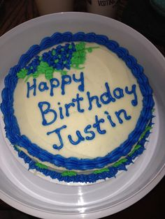 Justin's cake that he shared with Dillan to celebrate Justin's birthday .