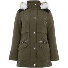 New Look Teens Khaki Faux Fur Trim Hooded Parka ($26) ❤ liked on Polyvore featuring outerwear, coats, khaki, khaki parka coat, new look coats, khaki coat, parka coats and khaki parka