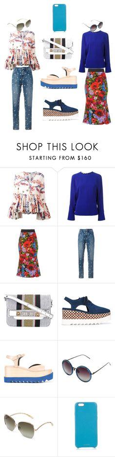 """Flowers skirt...."" by jamuna-kaalla ❤ liked on Polyvore featuring MSGM, STELLA McCARTNEY, Dolce&Gabbana, Zoe Karssen, Proenza Schouler, Linda Farrow, Victoria Beckham, Chaos and vintage"