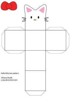 [link] pattern for that.P Hello Kitty box pattern Hello Kitty Birthday, Cat Birthday, Kitty Party, Diy Gift Box, Diy Box, Gift Boxes, Anniversaire Hello Kitty, Diy Paper, Paper Crafts