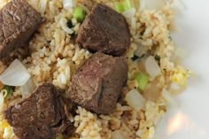 Hibachi Steak, inspired by the Japanese steakhouse meal: not a true copy-cat of the Japanese meal, but pretty damn close.