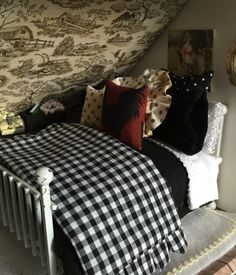 French Country Velvet and Black and White Check Bedding Set-1:12 Miniature Dollhouse Scale