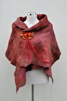Felted cape bolero nuno felt felt wool by AleksandrabWiniarska, $66.00