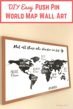 Want to decorate your home with a simple yet lovely piece of art? Do you love to travel? This DIY Easy Push Pin World Map Wall Art will instantly spruce up any empty space in your home and liven it up.