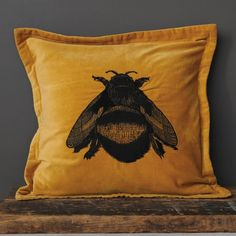 Bee Embroidered Cotton Velvet Pillow