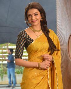 Kajal Agarwal in a Beautiful Yellow Saree. Saree Blouse Neck Designs, Saree Blouse Patterns, Bridal Blouse Designs, Simple Sarees, Trendy Sarees, Stylish Sarees, Fancy Sarees, Indian Designer Outfits, Indian Outfits