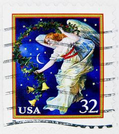 xmas stamp USA 32c angel christmas stamp United States of America us 32c 邮票 美国