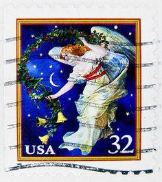 xmas stamp USA 32c angel christmas stamp United States of America us 32c 邮票 美国