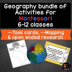 Montessori Elementary GeographyThis is a bundle of my two geography task card/activity products which are ideal for Montessori children aged 6-12. These activities and task cards will extend your students knowledge and allow opportunities for students to integrate their knowledge and connect between curriculum areas.