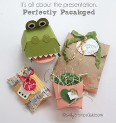 So many great new products for packaging with Stampin' Up!. I just love the tongue on the alligator!