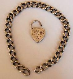 $185  Antique-English-Charm-Bracelet-Engraved-034-NEW-21-034-Padlock-Silver-no-key-1920s