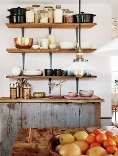 Bronze and Gray and White and Wood Kitchen | Kitchen shelves made from salvaged floorboards