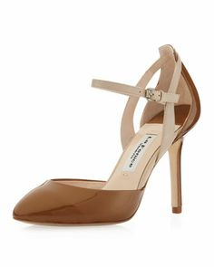 le gorg - & so helpful with my new brown & gold fascination....Blondie+Matte-Patent+Ankle-Strap+Pump,+Bronze+by+La+Fenice+at+Neiman+Marcus+Last+Call.